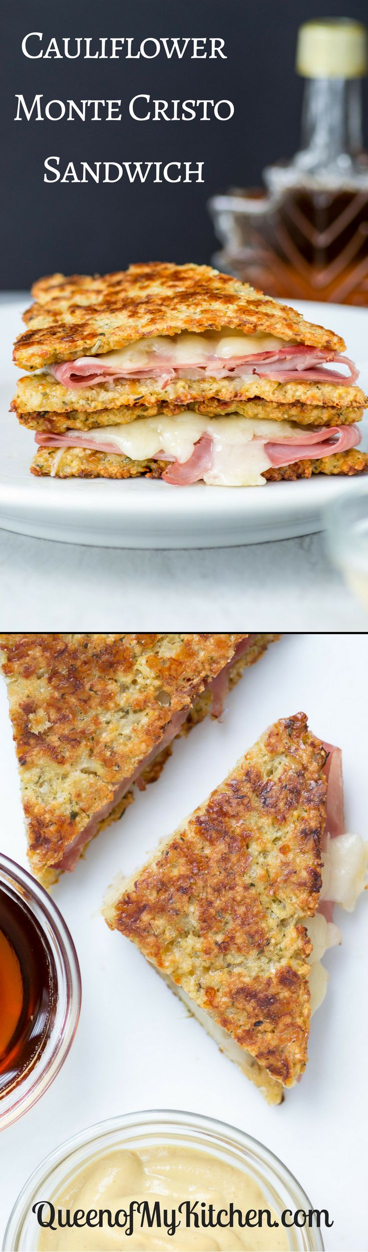 Cauliflower Monte Cristo Sandwiches – A lightened up version of the classic sandwich made with slices of cauliflower bread instead of French toast. Gluten-free.   QueenofMyKitchen.com