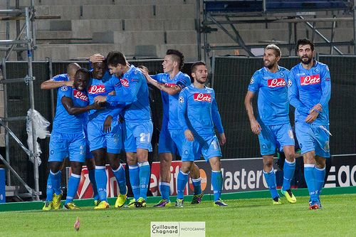 Napoli players celebrate during the UEFA champions League soccer match, Olympique de Marseille Vs SSC Napoli at Stade Vélodrome in Marseille, France on October 22nd, 2013. Photo by Guillaume Chagnard/ABACAPRESS.COM   The planet most comprehensive online casino. - http://www.playdoit.com/