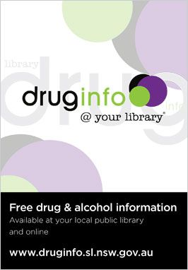 Front of drug info @ your library postcard