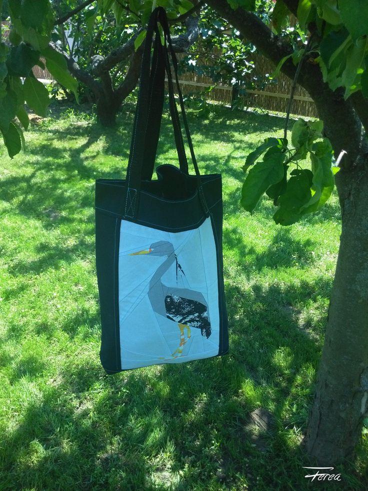 Shopping bag, grey heron patchwork pattern, patchwork bag, black bird tote, unlined bag by FereaDesign on Etsy