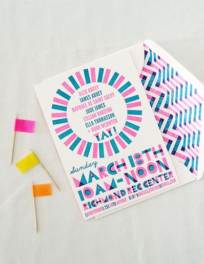 Neon Party Invites. I like this theme.