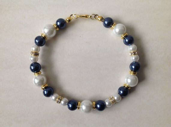 Night Blue Glass Pearl and Gold Beaded by EverGracefulGifts