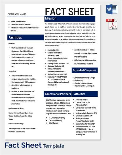 Fact Sheets Template Template in 2018 Pinterest Template - Summary Report Template