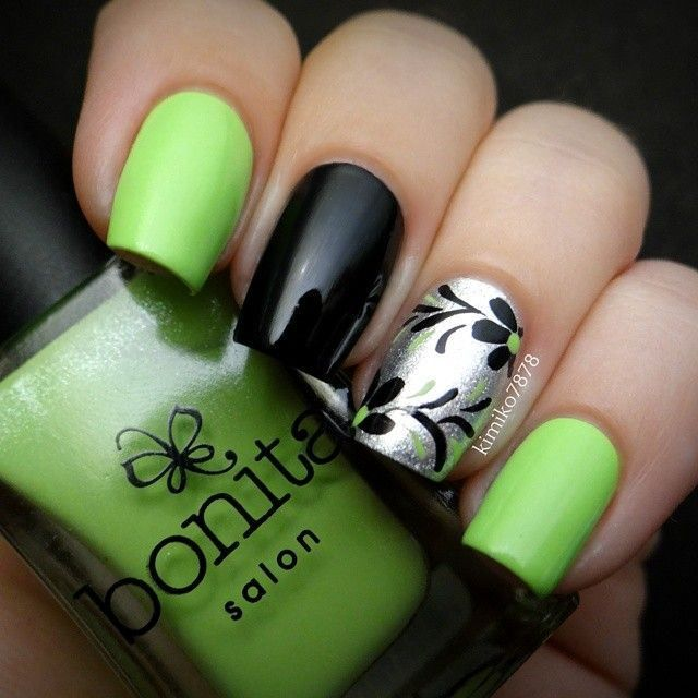 Lime Green And Black Nail Designs 26