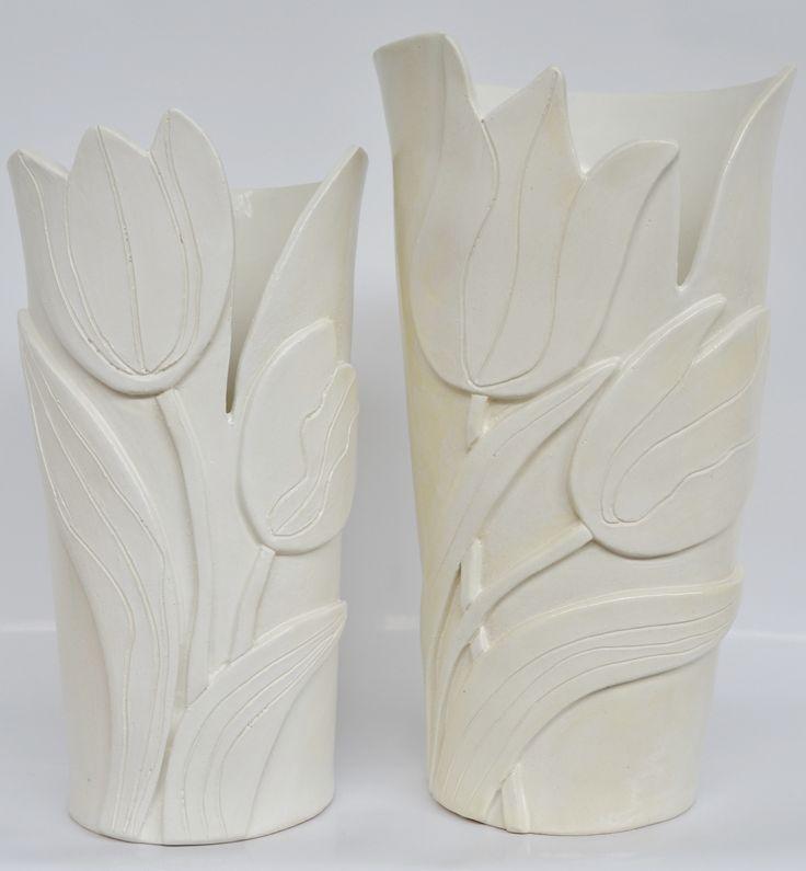 cream tulip vases