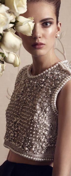 Embellished pearl crop top