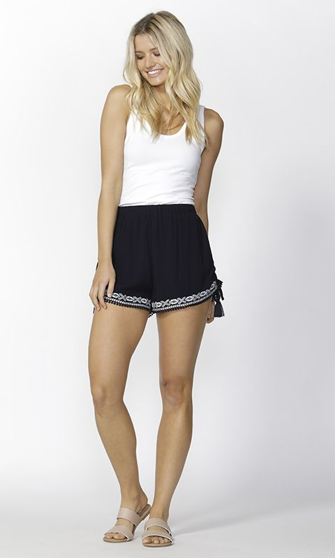 Sass - Ivie Embroidered Tie Shorts B