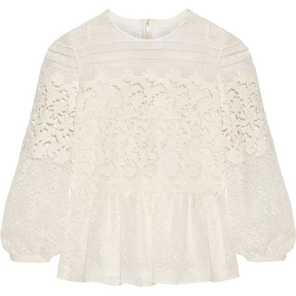 Burberry Prorsum Paneled cotton-blend lace peplum blouse (€2.015) ❤ liked on Polyvore featuring tops, blouses, shirts, blusas, burberry, white, white blouse, peplum tops, white shirt and shirts & tops