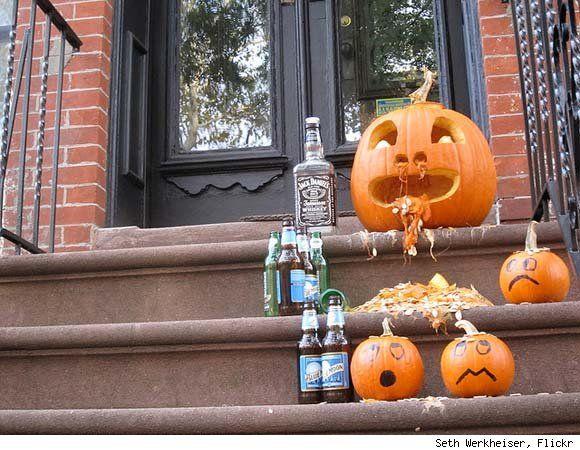 drunk pumpkin throwing up