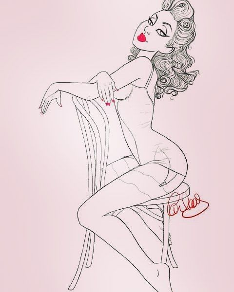 """carlaasroom:  """"#pinup #pinupart #illustration #painttoolsai #pinupartist #glamour #lingerie #underwear #rock #victoryrolls #bombshell #lace #sketch #draw #drawing (à La Baule-les-Pins)  """""""