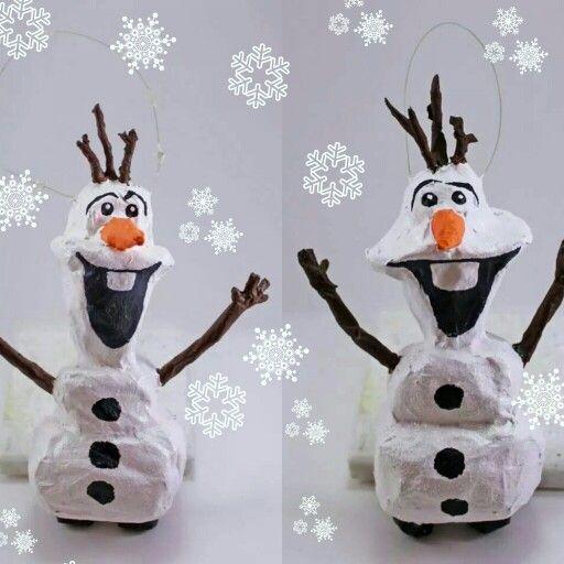 Handmade paper mache Olaf tree ornaments