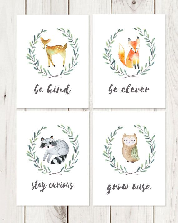 Woodland Nursery Prints // Be Brave Be Kind // Woodland Nursery // Baby Shower…