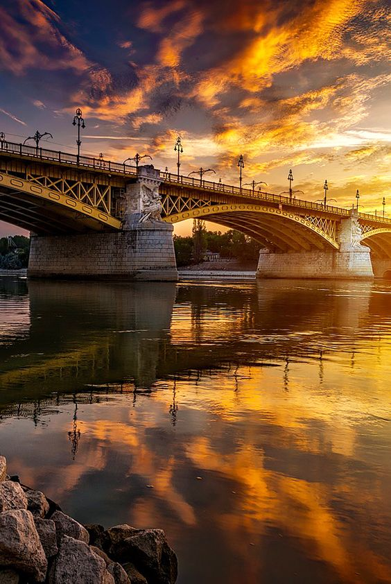 Margaret Bridge at amazing sunset in Budapest, Hungary.