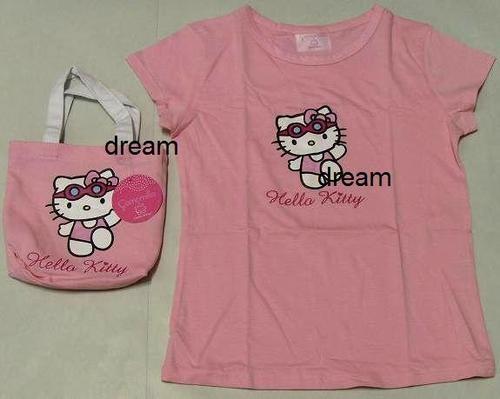 CAMOMILLA T-Shirt / Maglia Ragazza / Donna HELLO KITTY+Borsa SWIMMING Rosa Tg M