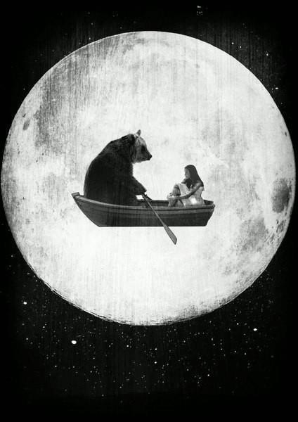 """Bear Boat in the moon""...rising moon making the sky behind it luminous."