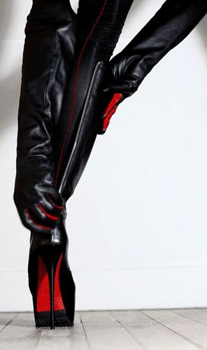 CHRISTIAN LOUBOUTIN high heel boots & sexy gloves.