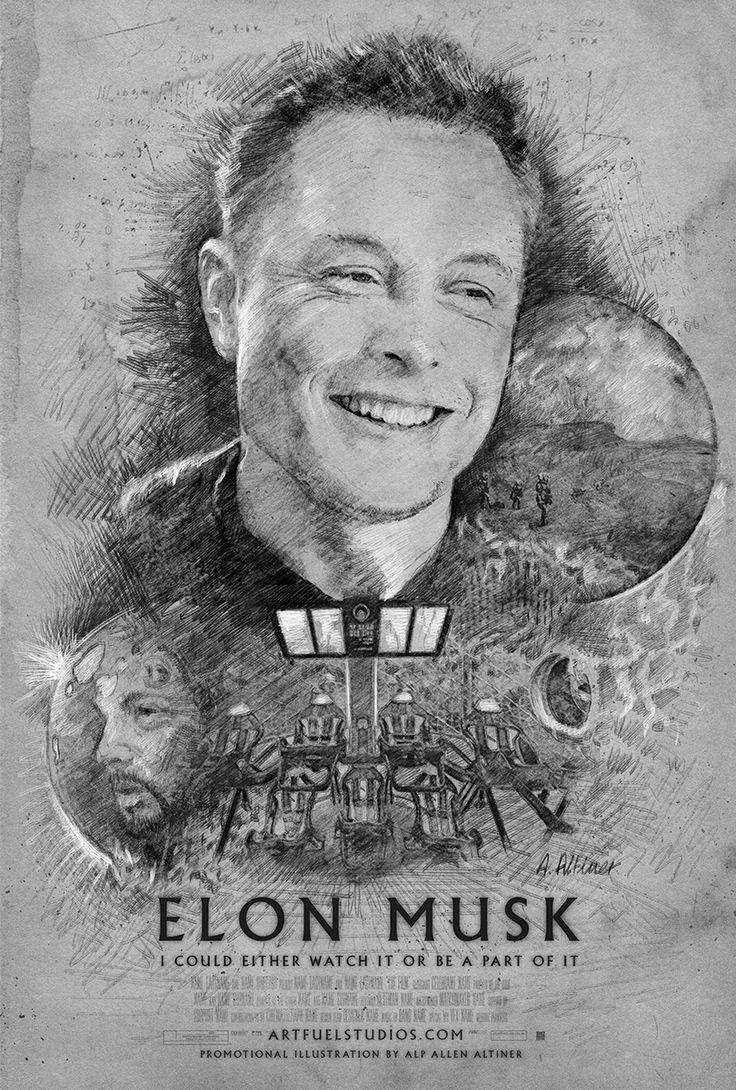 Illustration by Alp Allen Altiner ARTFUEL STUDIOS - Elon Musk