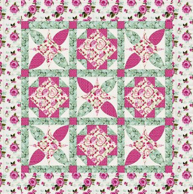 """This free quilt pattern is called """"Sweet, Sweet Roses"""". So pretty!"""