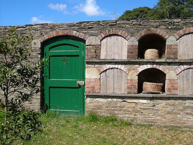 """Bee boles, """"The Lost Gardens of Heligan,"""" Cornwall England. #beekeeping"""