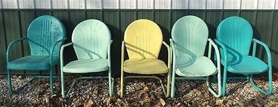 5 Metal Lawn Chairs Industrial Age Porch Deck Patio Retro Garden Mid Century B | eBay