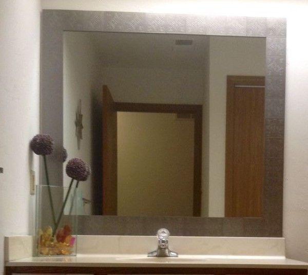 Diy Peel And Stick Tile Mirror Frame Tile Mirror Frame Peel And Stick Tile Stick Tile Backsplash