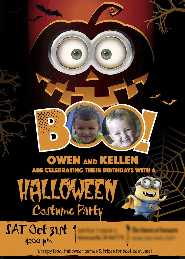first birthday invitation for my son%0A Halloween Party Invitation and Thank You note for Siblings   A cute sample u