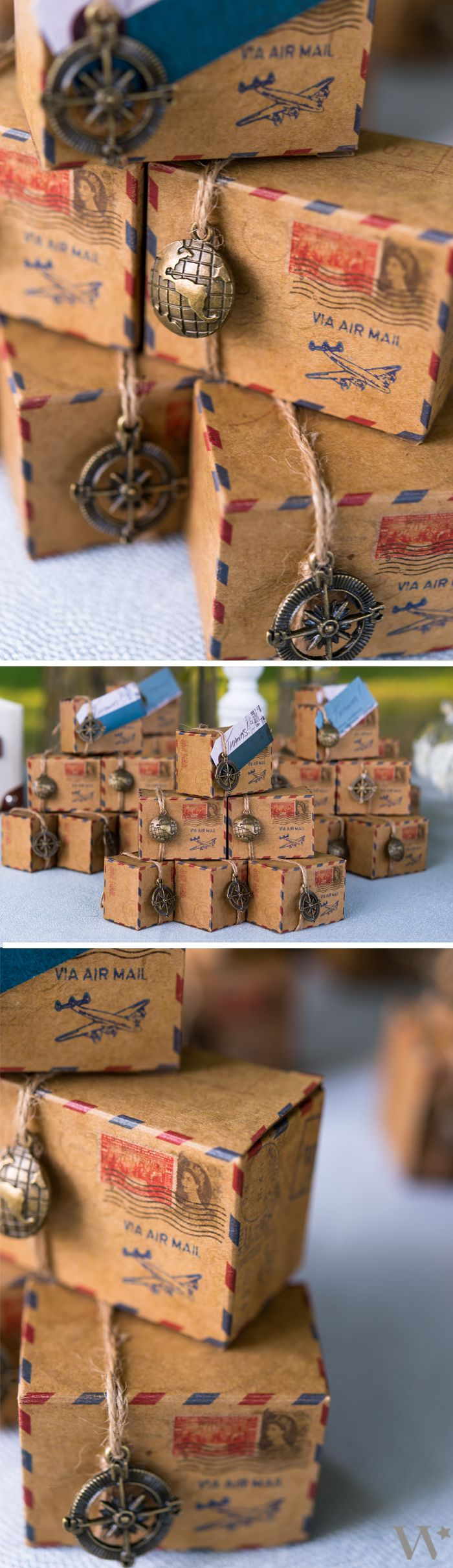 Having a travel themed or vintage wedding? Show off your DIY wedding flair with our simple to assemble Vintage Inspired Airmail Favor Box Kits that you can fill with your favorite treats or trinkets!