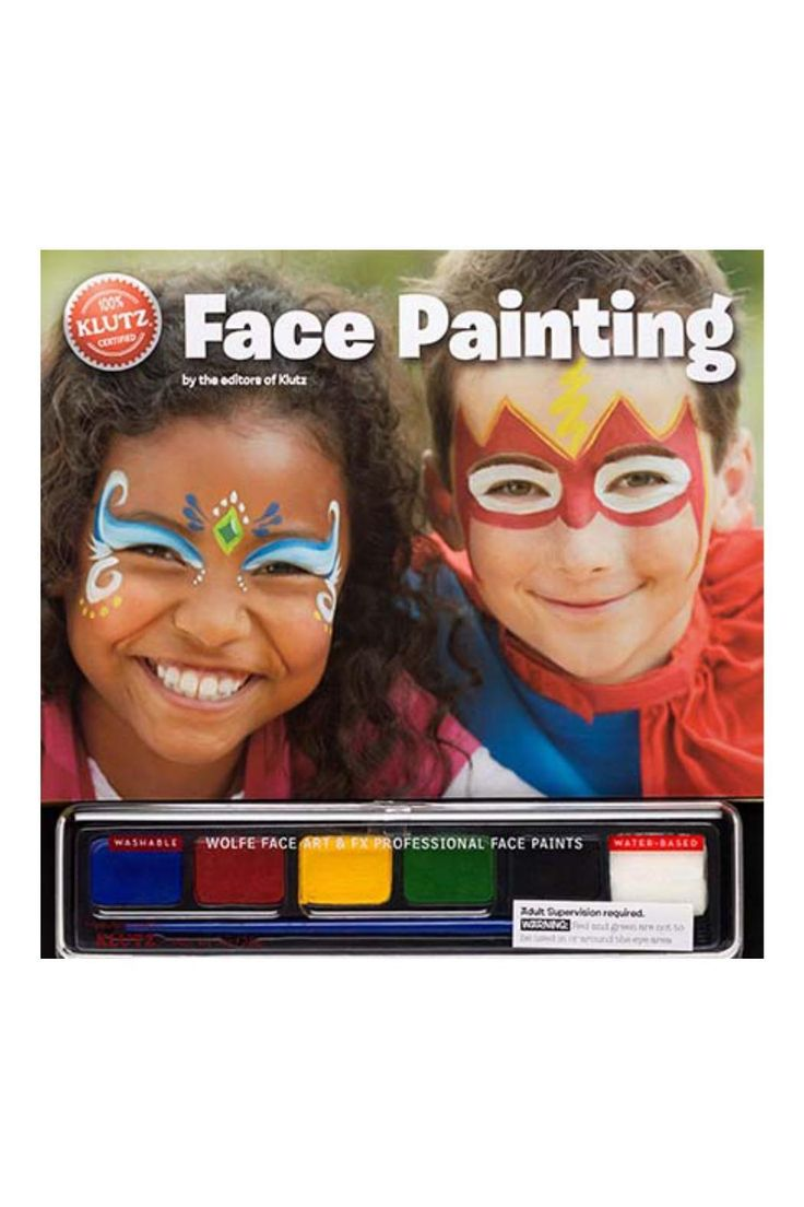 This complete kit is ideal for parties Halloween and dress-up with 6 ultra-safe Wolfe FX Professional Face Paints in bold bright colors; brush sponge and easy-to-use tear-out cheat sheets; and loads of kid-pleasing designs.  Face Painting Kit by Twist. Home & Gifts - Gifts - Odds & Ends Santa Monica Los Angeles California
