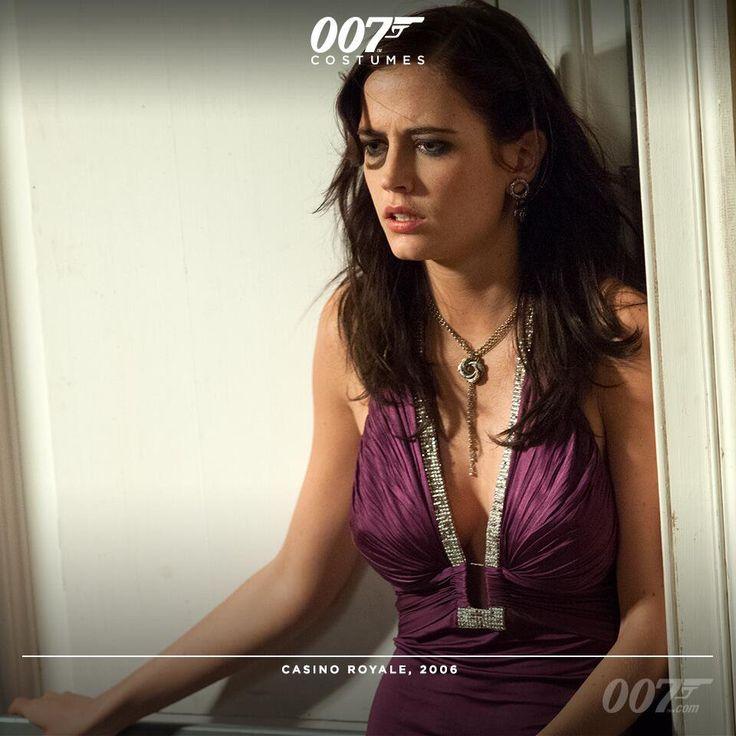 In CASINO ROYALE, Eva Green (Vesper Lynd) wears a purple Roberto Cavalli dress