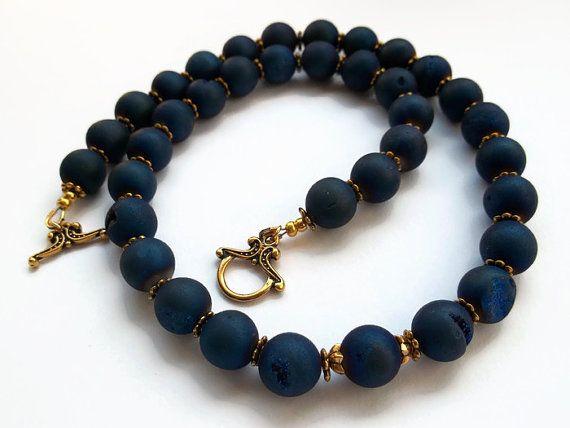 Blue titanium druzy gate necklace. Royal blue by MilenasBoutique