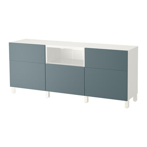 IKEA - BESTÅ, TV unit, drawer runner, push-open, , The drawers and doors close silently and softly, thanks to the integrated soft-closing function.The two drawers make it easy to keep remote controls, game controls and other TV accessories organized.It's easy to keep the cords from your TV and other devices out of sight but close at hand, as there are several cord outlets at the back of the TV bench.