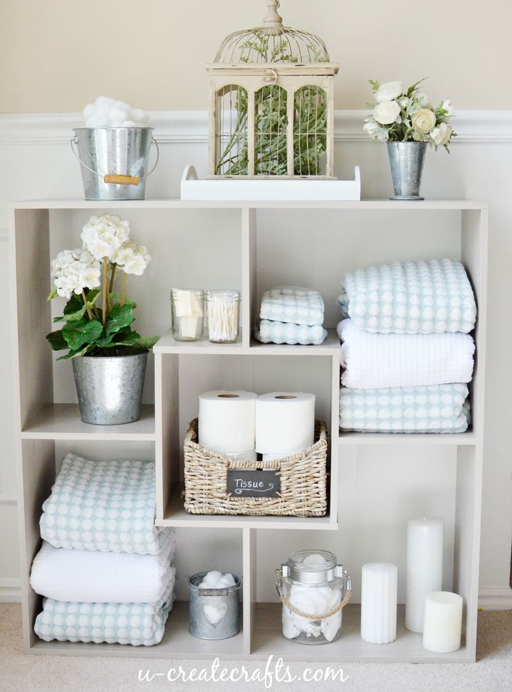 Ideas for Bathroom Shelves. Love these great storage ideas! Repined by: SeattleModernHomeStaging  www.smhsdesign.com