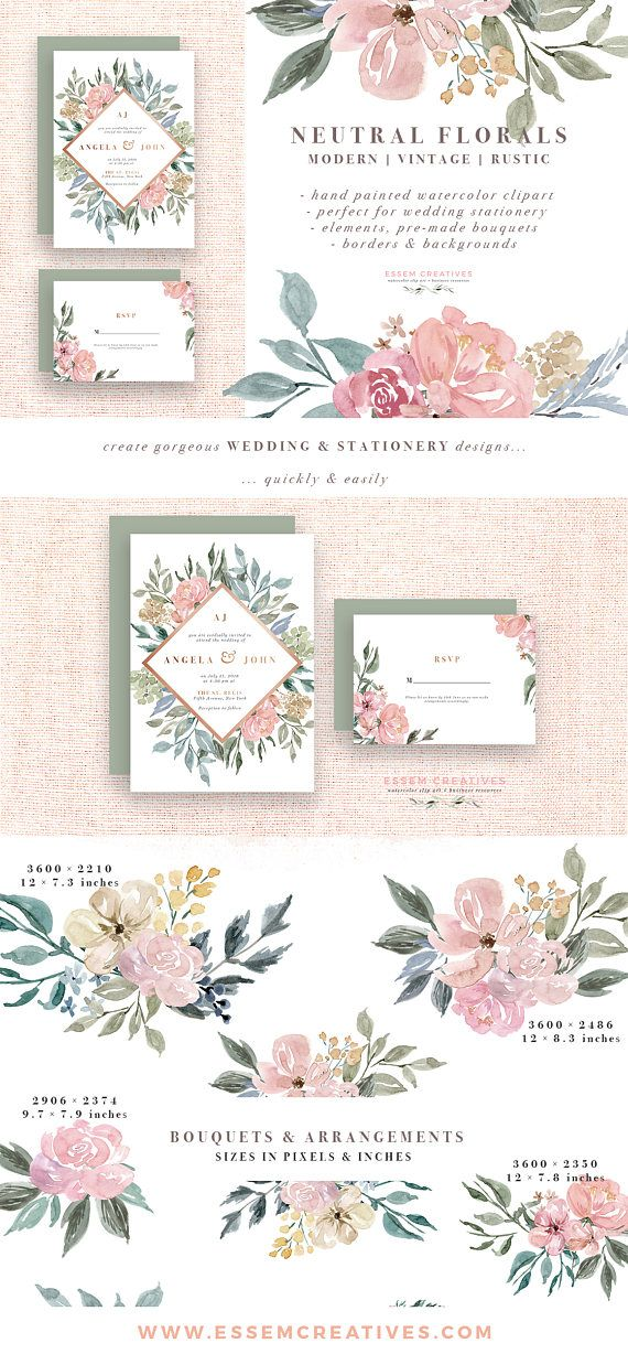 Neutral Watercolor Flowers Clipart Watercolor Background Rustic