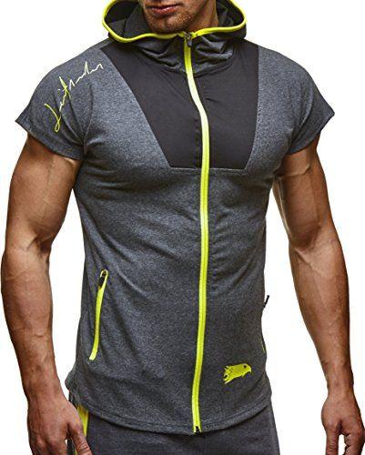 bad1b292c199 Amazon LEIF NELSON Gym Herren Fitness T-Shirt Weste Trainingsshirt LN6334  Größe  S, Anthrazit-Gelb     Mode für Männer   Pinterest