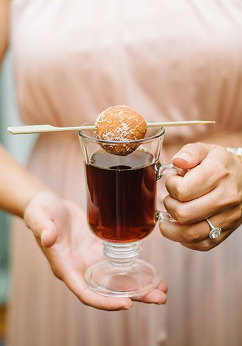Gourmet coffee bar with donut holes from the PPHG culinary team | A perfect treat for your winter wedding | Lowndes Grove Plantation in Charleston, South Carolina | Photo by Aaron and Jillian