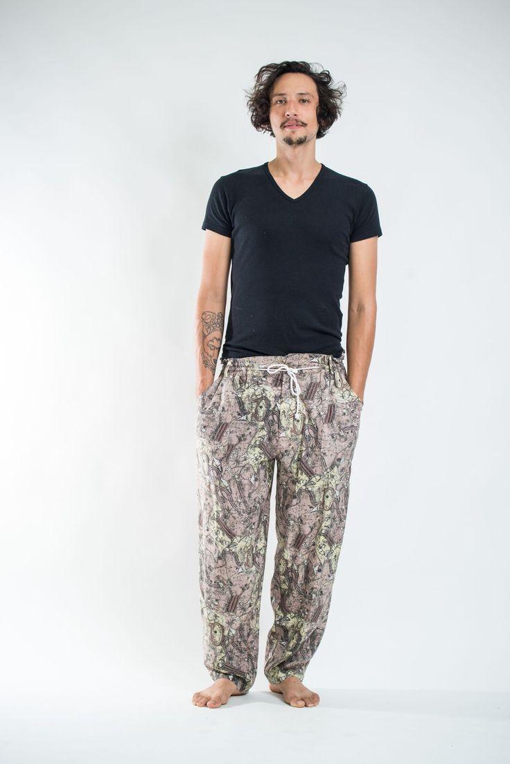 Thai Organic Cotton Patchwork Men's Drawstring Pants Light Brown