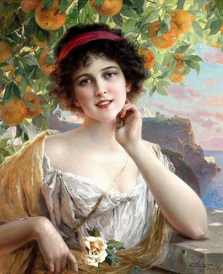 ✨ Émile Vernon, French (1872-1919) - Beauty Under Orange Tree2