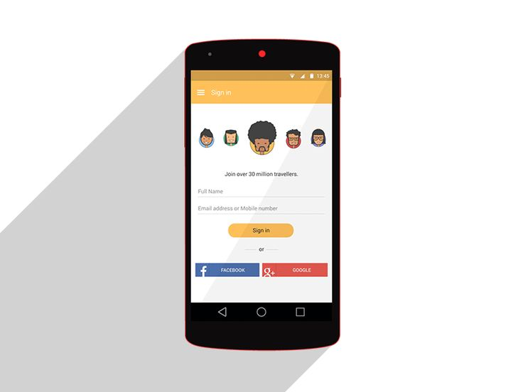 Avatar Selection  android lollipop material design app smartphone log in sign up sign in