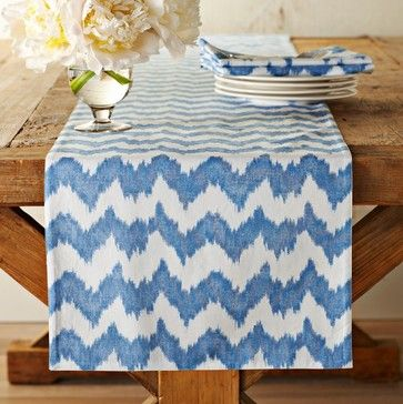 Bold Ikat Print Table Runner, Blue - contemporary - table linens - Williams-Sonoma