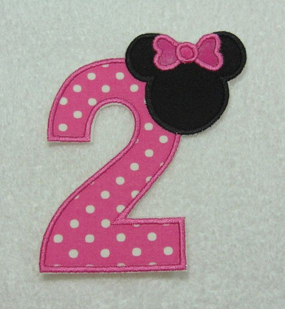 Minnie Mouse Number 2 Fabric Embroidered Iron By