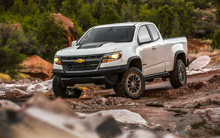 Download wallpapers Chevrolet Colorado ZR2, 4k, pickup, 2018 cars, SUVs, offroad, new Colorado ZR2, Chevrolet