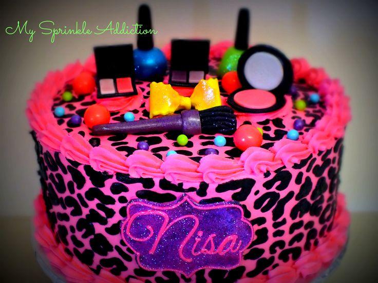 Cheetah Print Makeup Cake