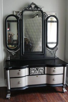 Victorian Gothic Antique Vanity with Tri-Fold Mirror; Black & Aged Warm Silver | Antiques, Furniture, Dressers & Vanities | eBay!