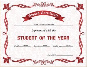 Student of the year award certificate