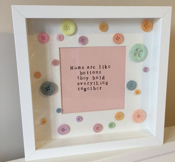 Mums are like buttons- handstamped quote frame. Vintage style typography with button trim. For mum mummy mother. Mother's Day gift