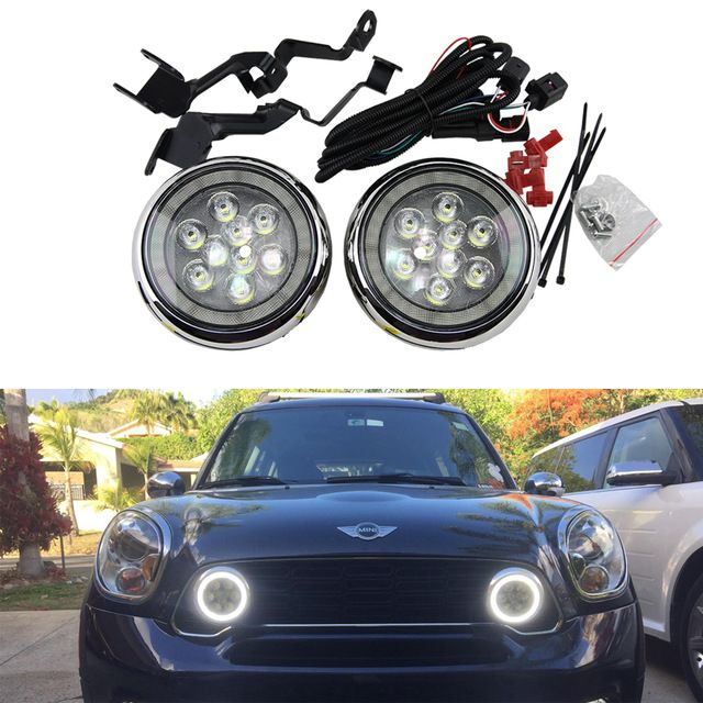 2x Led Halo Rally Drl Daytime Driving Light For Mini Cooper R55 R56 R57 R58 R60 12v E4 Led Rally Light Mini Cooper Cool Car Accessories Mini Cooper Countryman