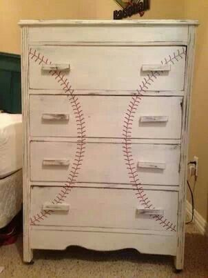 "Paint old dresser to look like this for a boys ""sport"" bedroom"