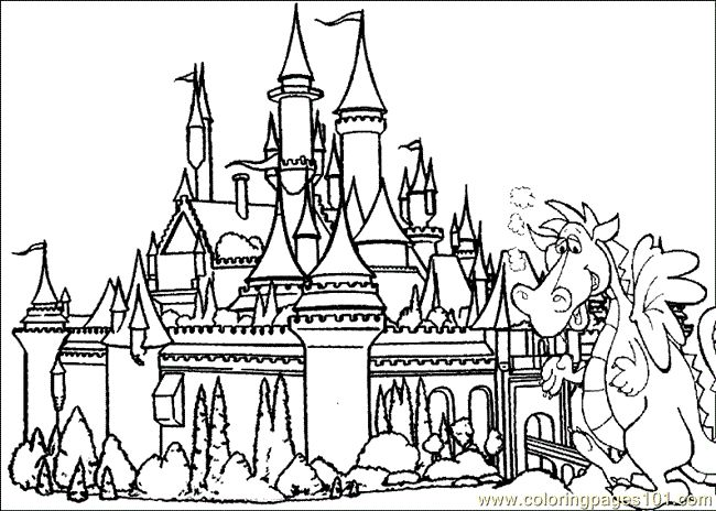 Free Coloring Pages Of Castles And Dragons