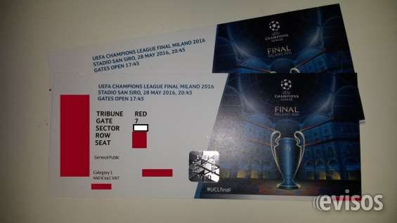 2 entradas CAT 1 UEFA Champions League Milan 28/05/2016  2 entradas para la final de la Champions 2016 Real Madrid  ..  http://barcelona-city.evisos.es/2-entradas-cat-1-uefa-champions-league-milan-28-05-2016-id-691775