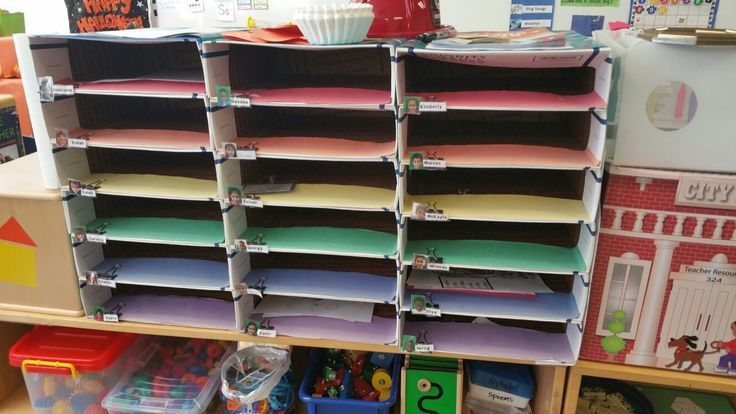 Student Mailboxes made by ssaenz. USPS priority mailing boxes are free online. Attach together with hot glue and wrap them in wrapping paper. Use a binder clip for each box to label with a child's name.